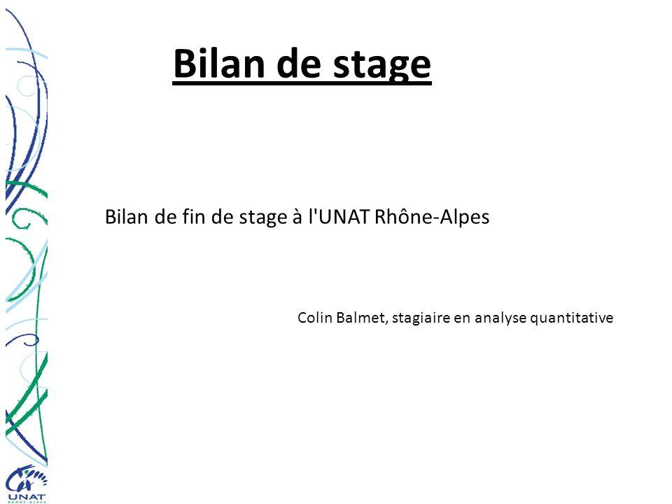 Bilan de stage Bilan de fin de stage à l'UNAT Rhône-Alpes Colin Balmet, stagiaire en analyse quantitative
