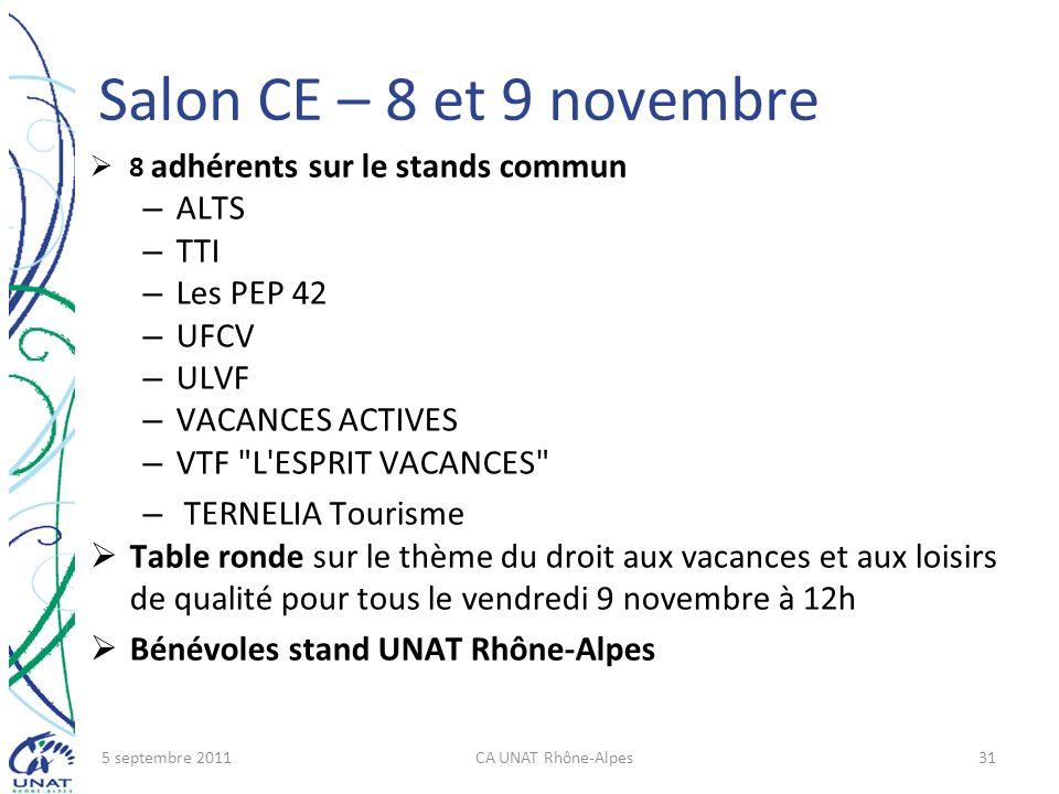 Salon CE – 8 et 9 novembre 8 adhérents sur le stands commun – ALTS – TTI – Les PEP 42 – UFCV – ULVF – VACANCES ACTIVES – VTF