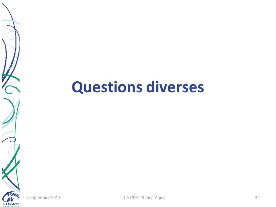 Questions diverses 5 septembre 2011CA UNAT Rhône-Alpes34