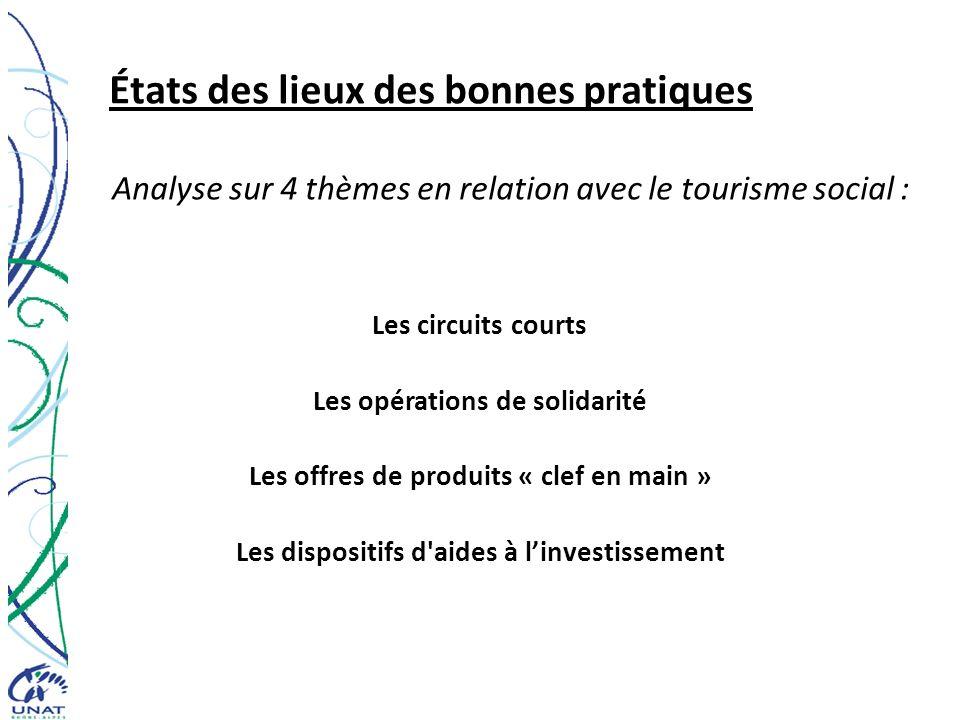 États des lieux des bonnes pratiques Analyse sur 4 thèmes en relation avec le tourisme social : Les circuits courts Les opérations de solidarité Les d