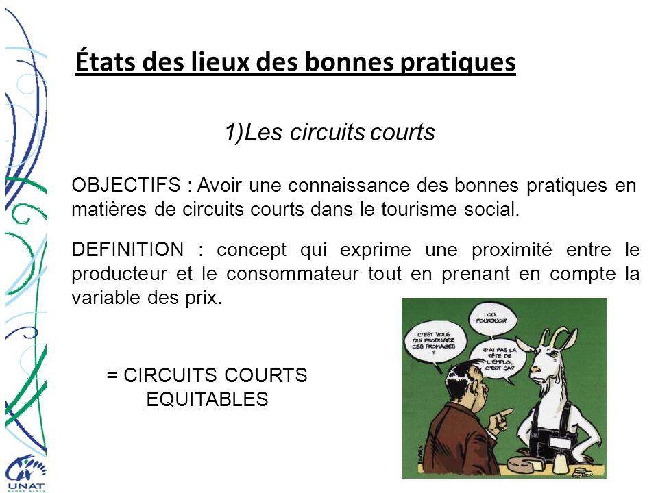 États des lieux des bonnes pratiques 1)Les circuits courts OBJECTIFS : Avoir une connaissance des bonnes pratiques en matières de circuits courts dans