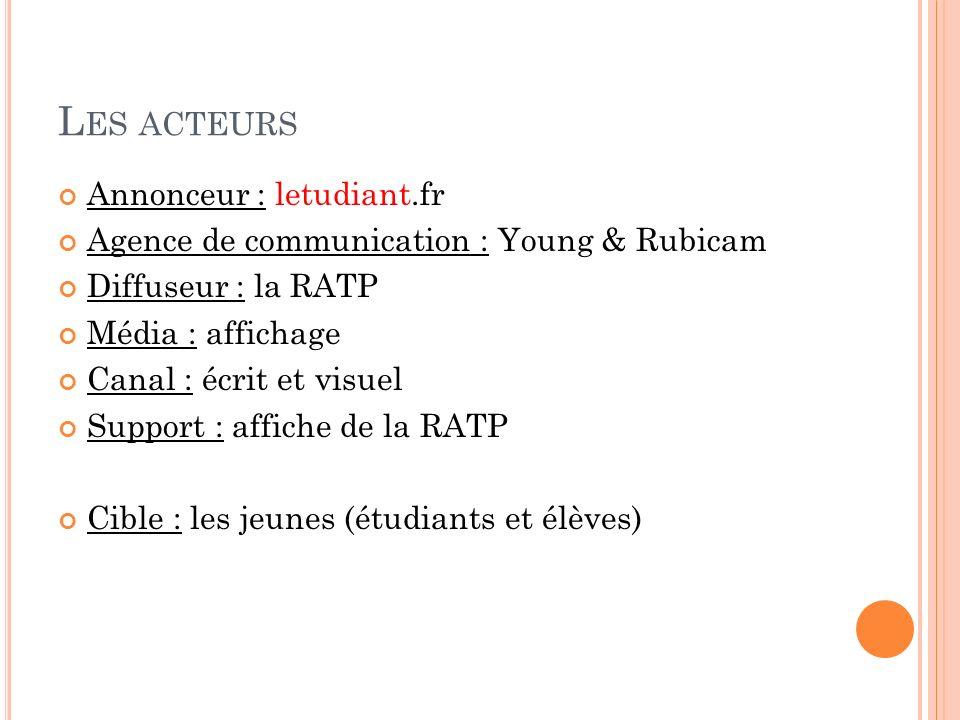L ES ACTEURS Annonceur : letudiant.fr Agence de communication : Young & Rubicam Diffuseur : la RATP Média : affichage Canal : écrit et visuel Support