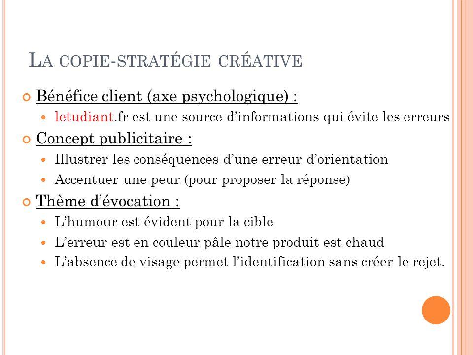 L A COPIE - STRATÉGIE CRÉATIVE Bénéfice client (axe psychologique) : letudiant.fr est une source dinformations qui évite les erreurs Concept publicita
