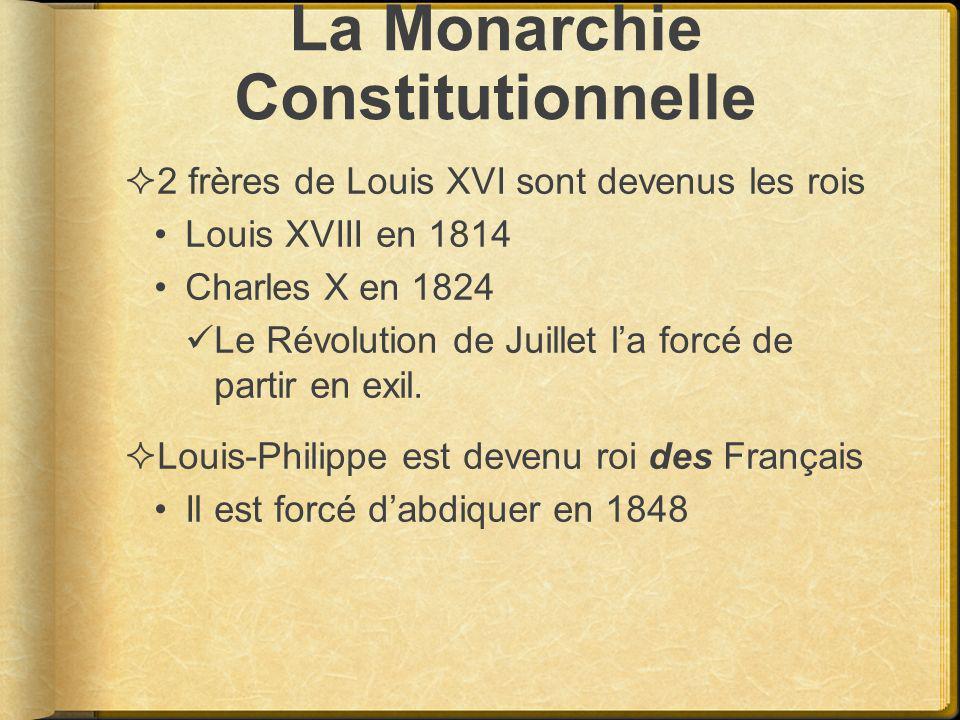 La Monarchie Constitutionnelle 2 frères de Louis XVI sont devenus les rois Louis XVIII en 1814 Charles X en 1824 Le Révolution de Juillet la forcé de