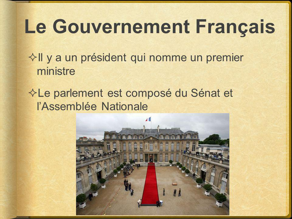 Le Gouvernement Français Il y a un président qui nomme un premier ministre Le parlement est composé du Sénat et lAssemblée Nationale