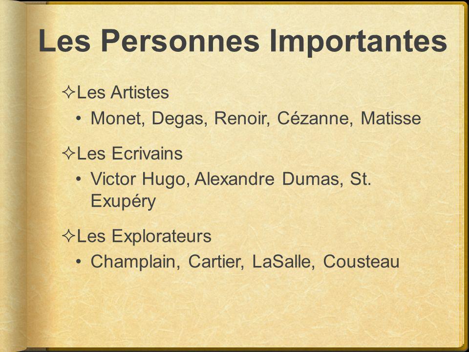 Les Personnes Importantes Les Artistes Monet, Degas, Renoir, Cézanne, Matisse Les Ecrivains Victor Hugo, Alexandre Dumas, St. Exupéry Les Explorateurs