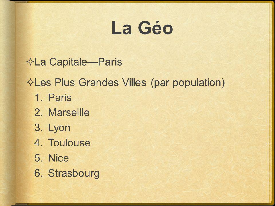 La Géo La CapitaleParis Les Plus Grandes Villes (par population) 1.Paris 2.Marseille 3.Lyon 4.Toulouse 5.Nice 6.Strasbourg