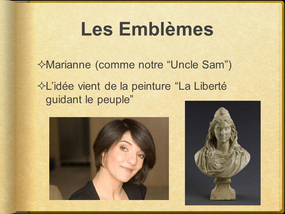 Les Emblèmes Marianne (comme notre Uncle Sam) Lidée vient de la peinture La Liberté guidant le peuple
