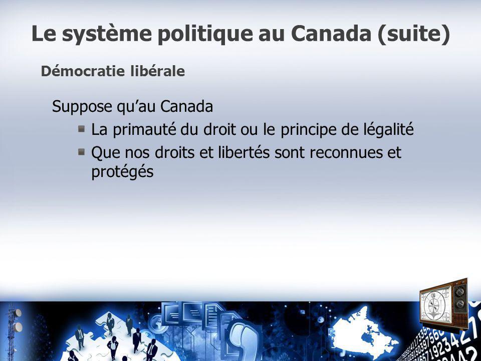Le système politique au Canada (suite) Démocratie libérale Suppose quau Canada La primauté du droit ou le principe de légalité Que nos droits et libertés sont reconnues et protégés