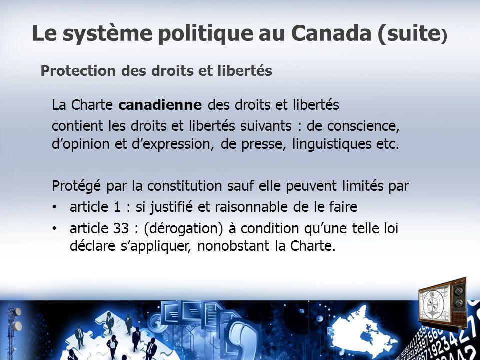 Le système politique au Canada (suite ) Protection des droits et libertés La Charte canadienne des droits et libertés contient les droits et libertés suivants : de conscience, dopinion et dexpression, de presse, linguistiques etc.