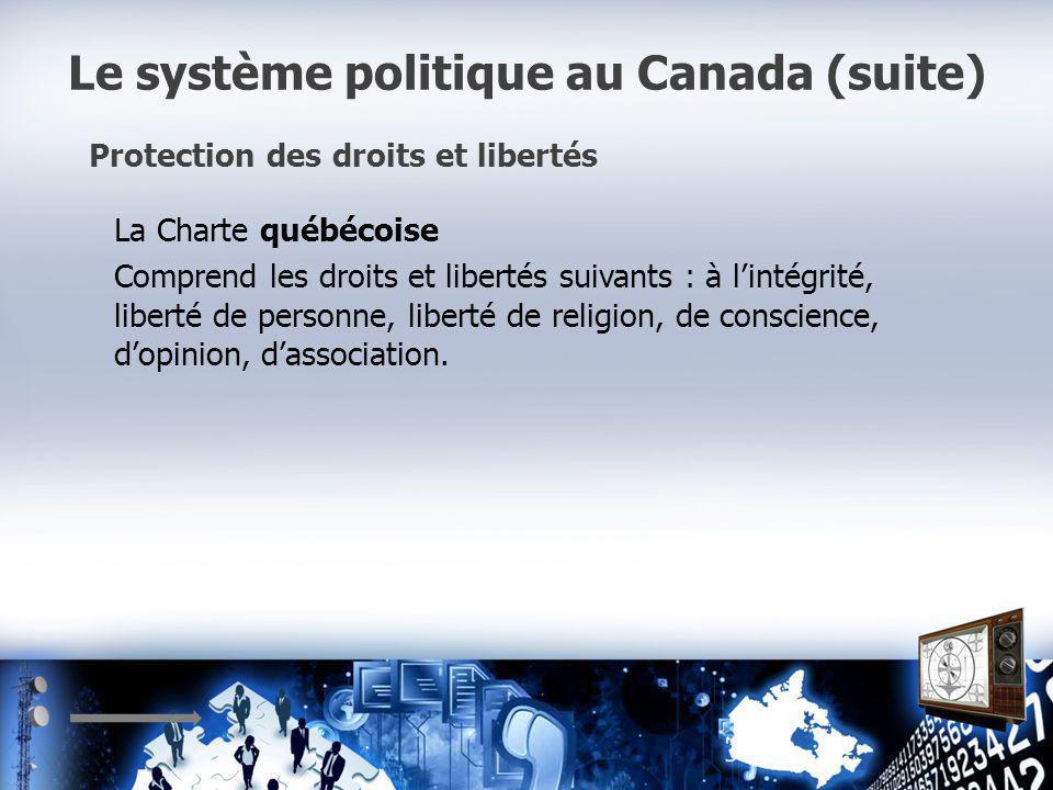 Le système politique au Canada (suite) Protection des droits et libertés La Charte québécoise Comprend les droits et libertés suivants : à lintégrité, liberté de personne, liberté de religion, de conscience, dopinion, dassociation.