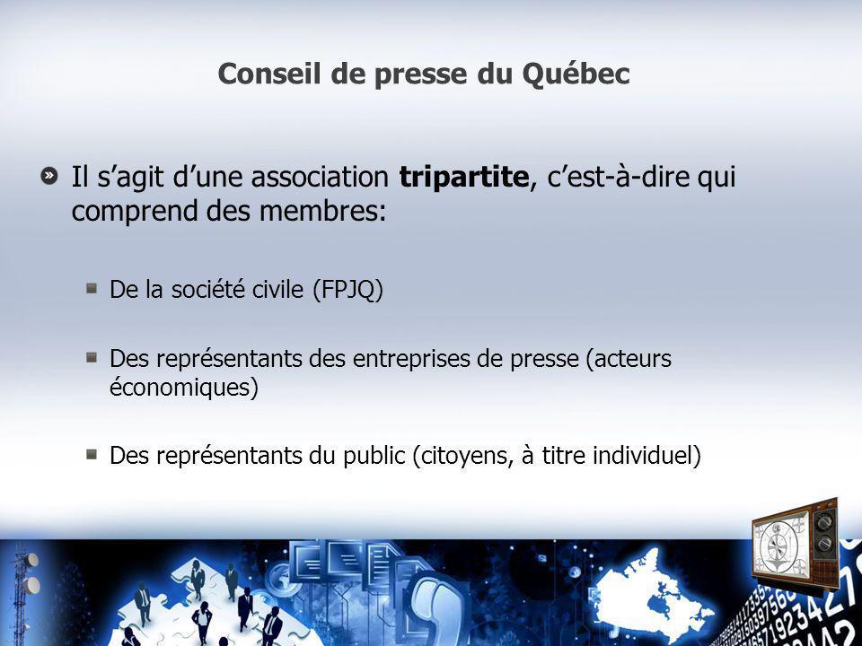 Conseil de presse du Québec Il sagit dune association tripartite, cest-à-dire qui comprend des membres: De la société civile (FPJQ) Des représentants des entreprises de presse (acteurs économiques) Des représentants du public (citoyens, à titre individuel)