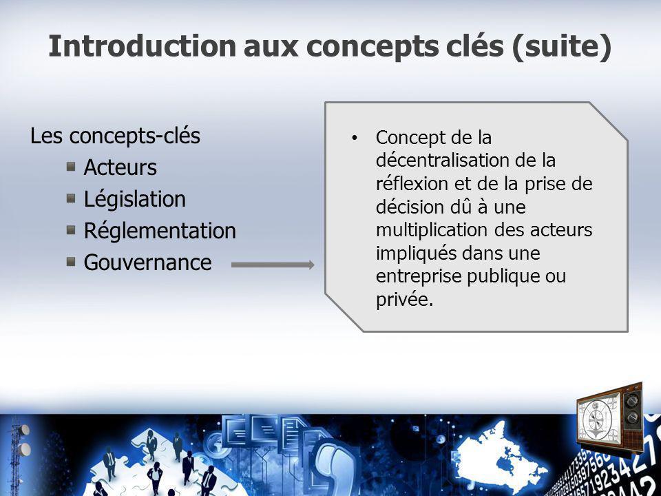 Introduction aux concepts clés (suite) Les concepts-clés Acteurs Législation Réglementation Gouvernance Concept de la décentralisation de la réflexion et de la prise de décision dû à une multiplication des acteurs impliqués dans une entreprise publique ou privée.