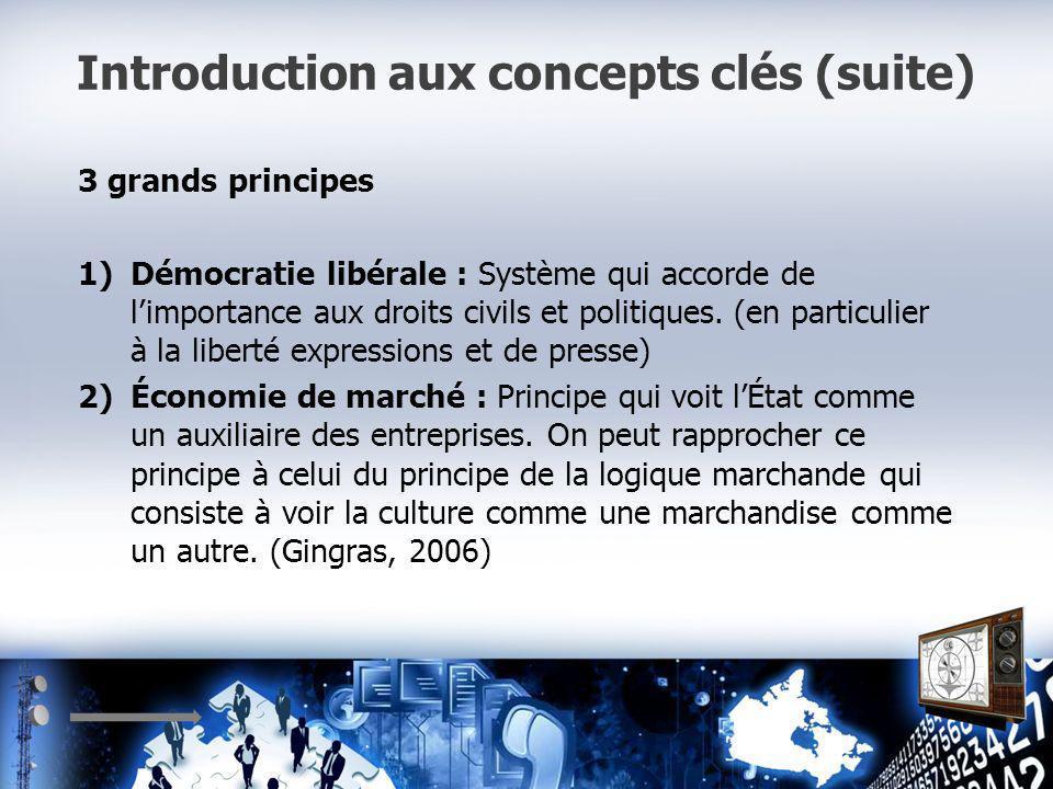 Introduction aux concepts clés (suite) 3 grands principes 1)Démocratie libérale : Système qui accorde de limportance aux droits civils et politiques.