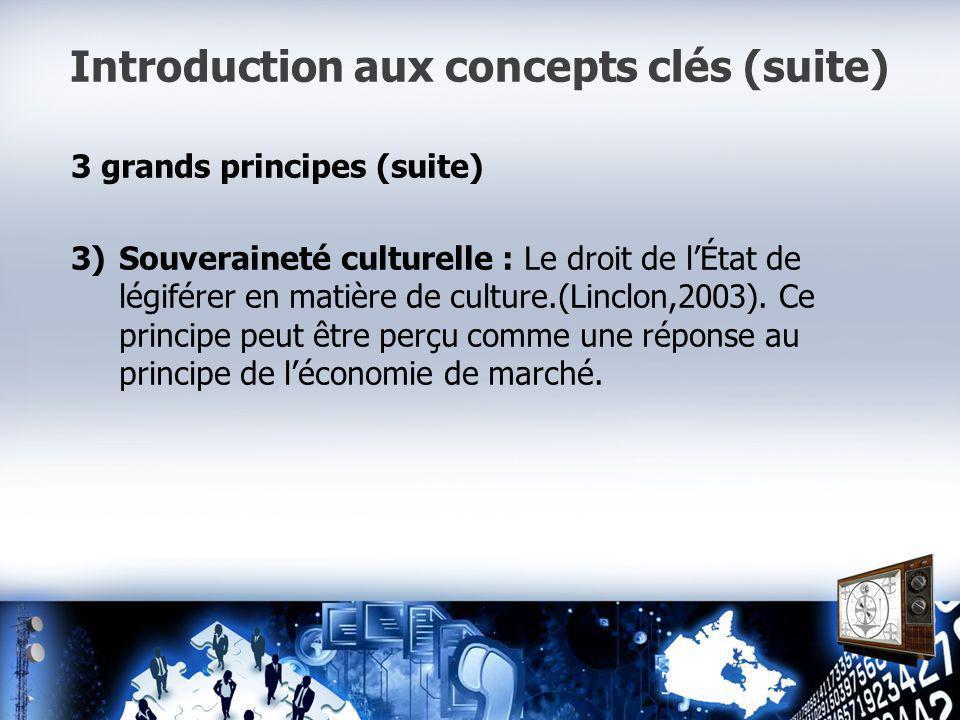 Introduction aux concepts clés (suite) 3 grands principes (suite) 3)Souveraineté culturelle : Le droit de lÉtat de légiférer en matière de culture.(Linclon,2003).