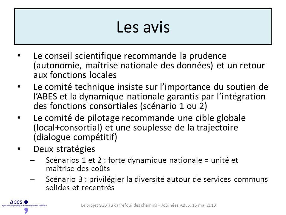 Les avis Le conseil scientifique recommande la prudence (autonomie, maîtrise nationale des données) et un retour aux fonctions locales Le comité techn