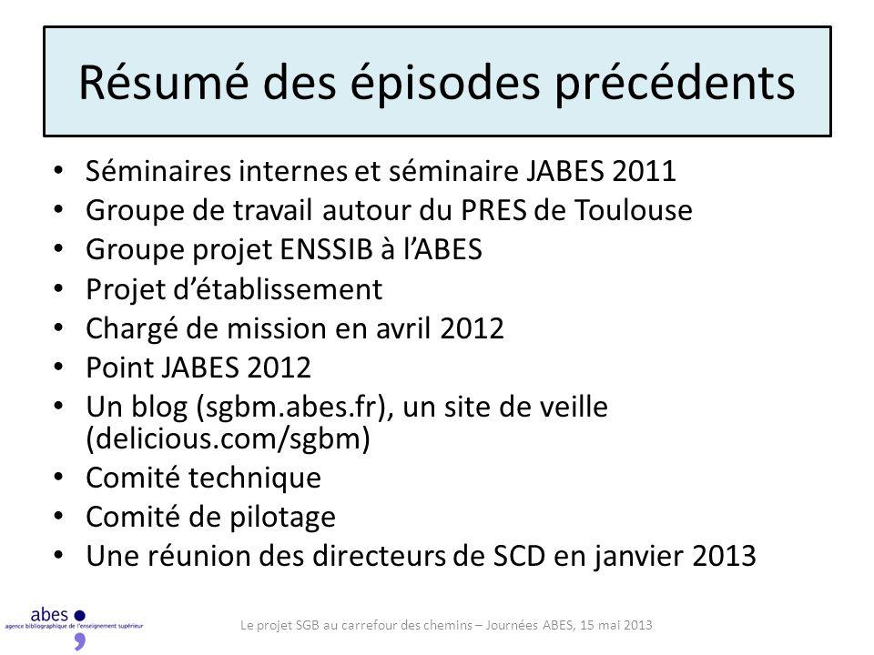 Résumé des épisodes précédents Séminaires internes et séminaire JABES 2011 Groupe de travail autour du PRES de Toulouse Groupe projet ENSSIB à lABES P