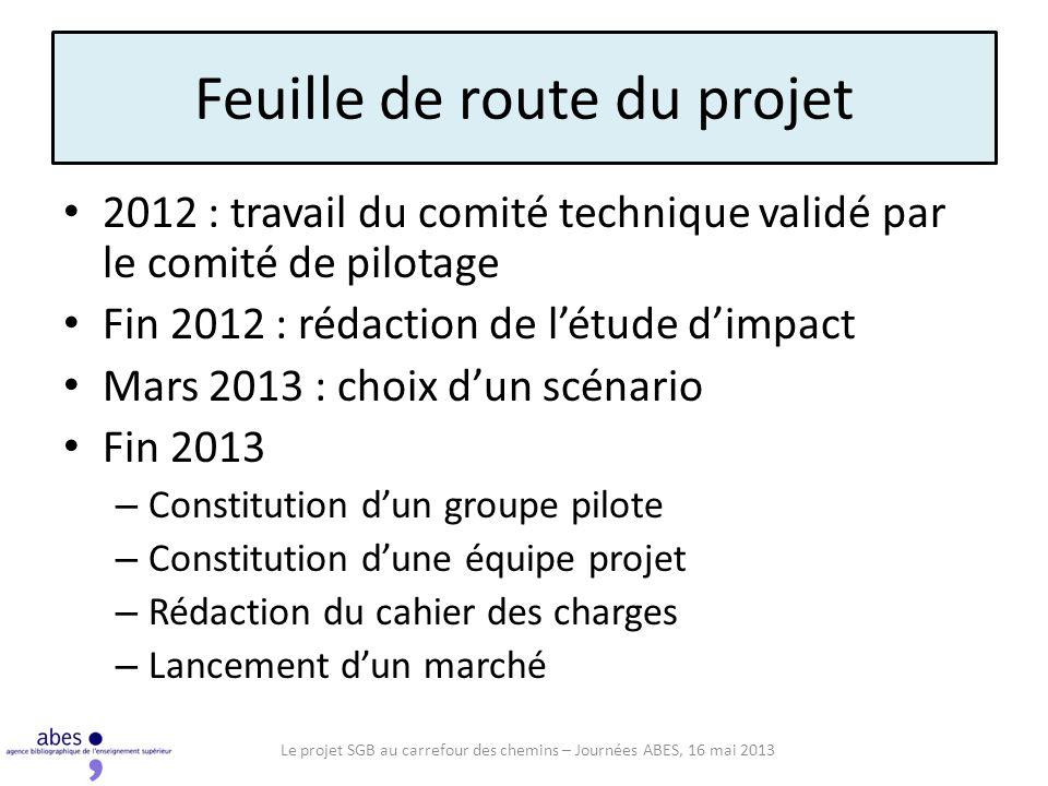 Feuille de route du projet 2012 : travail du comité technique validé par le comité de pilotage Fin 2012 : rédaction de létude dimpact Mars 2013 : choi
