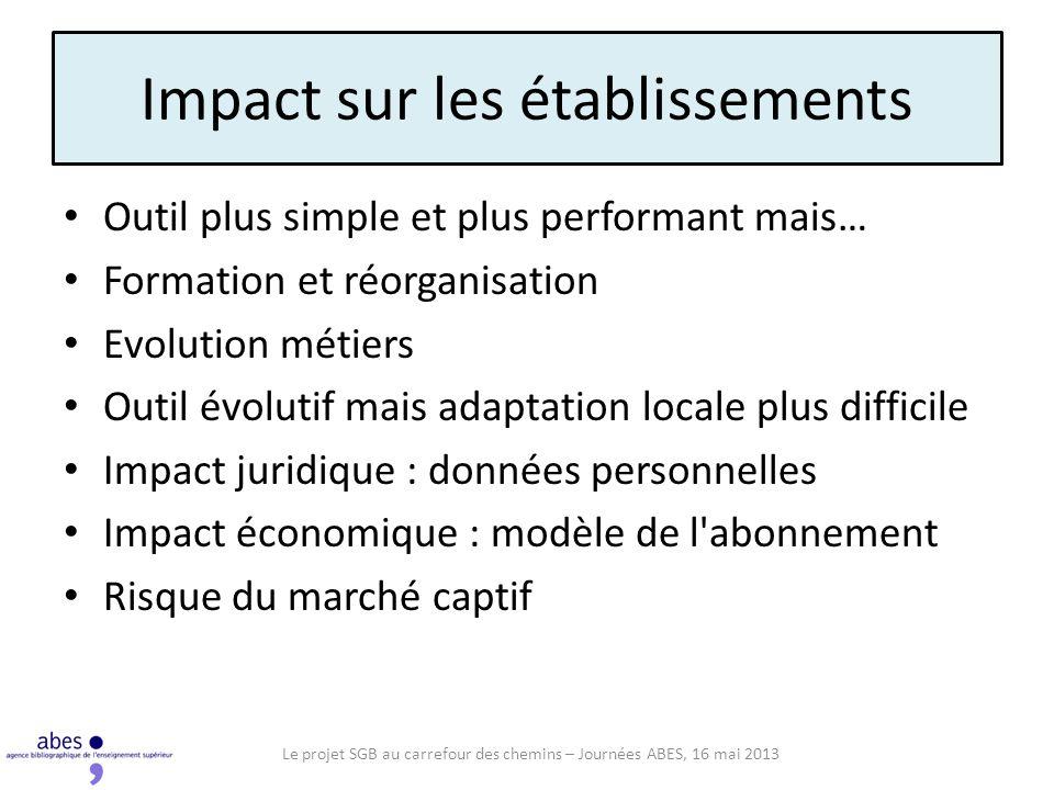 Impact sur les établissements Outil plus simple et plus performant mais… Formation et réorganisation Evolution métiers Outil évolutif mais adaptation