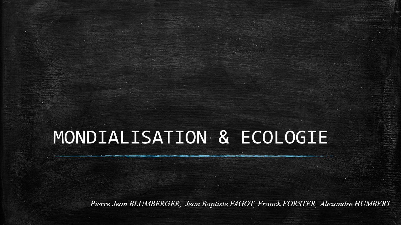MONDIALISATION & ECOLOGIE Pierre Jean BLUMBERGER, Jean Baptiste FAGOT, Franck FORSTER, Alexandre HUMBERT
