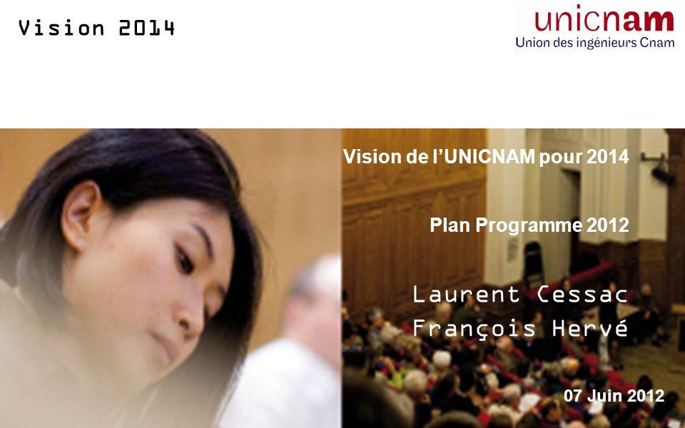 Vision 2014 Vision de lUNICNAM pour 2014 Plan Programme 2012 Laurent Cessac François Hervé 07 Juin 2012