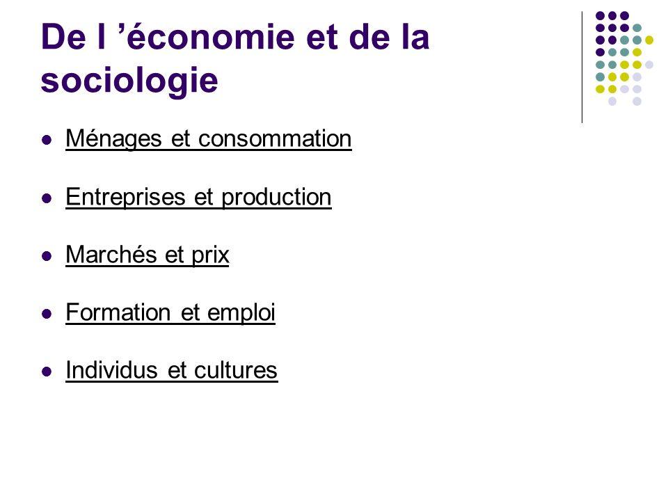 De l économie et de la sociologie Ménages et consommation Entreprises et production Marchés et prix Formation et emploi Individus et cultures