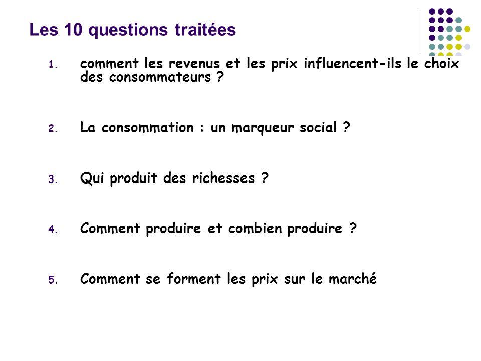 Les 10 questions traitées 1. comment les revenus et les prix influencent-ils le choix des consommateurs ? 2. La consommation : un marqueur social ? 3.