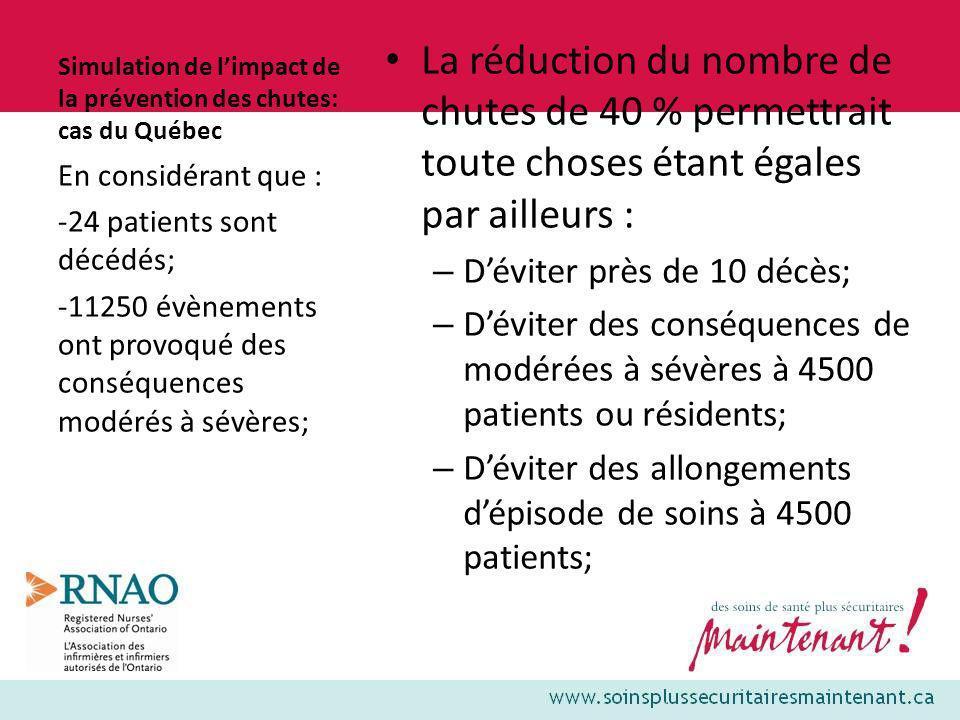 Simulation de limpact de la prévention des chutes: cas du Québec La réduction du nombre de chutes de 40 % permettrait toute choses étant égales par ai