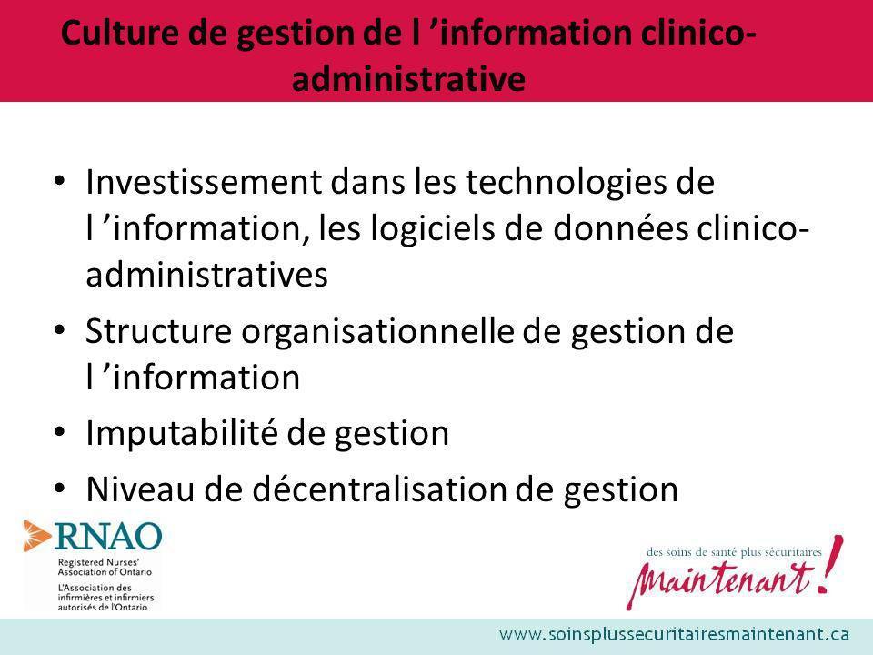 Culture de gestion de l information clinico- administrative Investissement dans les technologies de l information, les logiciels de données clinico- a