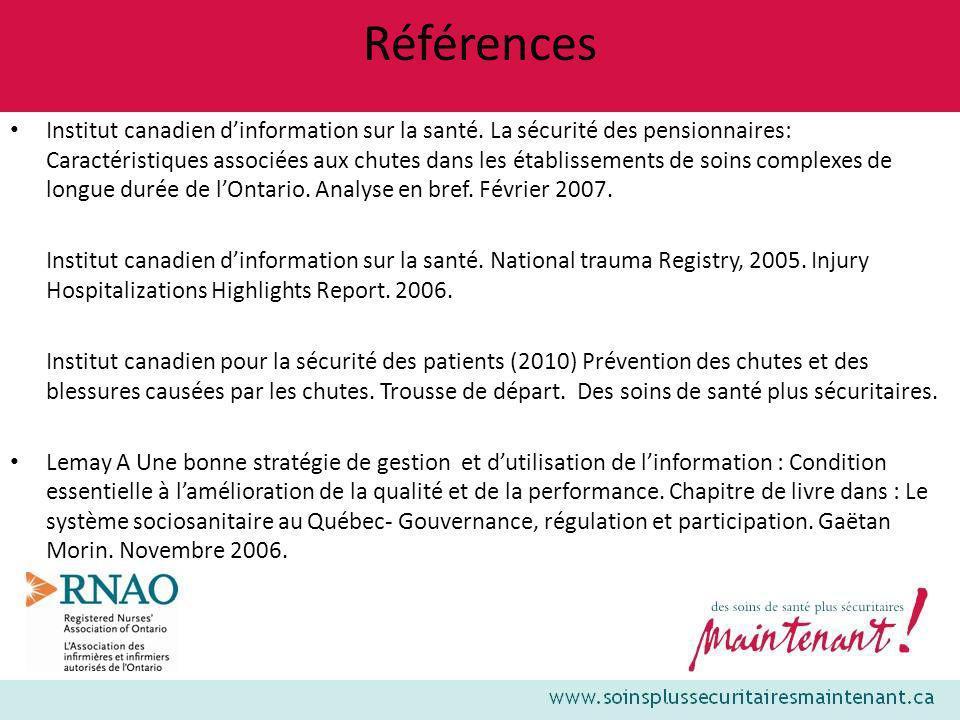 Références Institut canadien dinformation sur la santé. La sécurité des pensionnaires: Caractéristiques associées aux chutes dans les établissements d