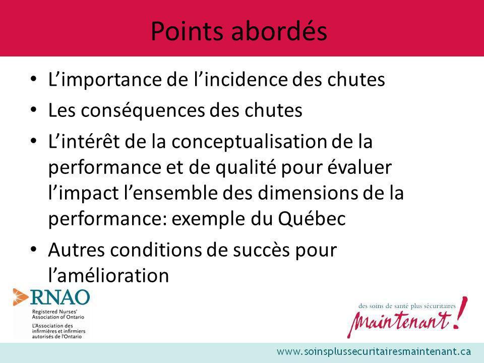 Points abordés Limportance de lincidence des chutes Les conséquences des chutes Lintérêt de la conceptualisation de la performance et de qualité pour