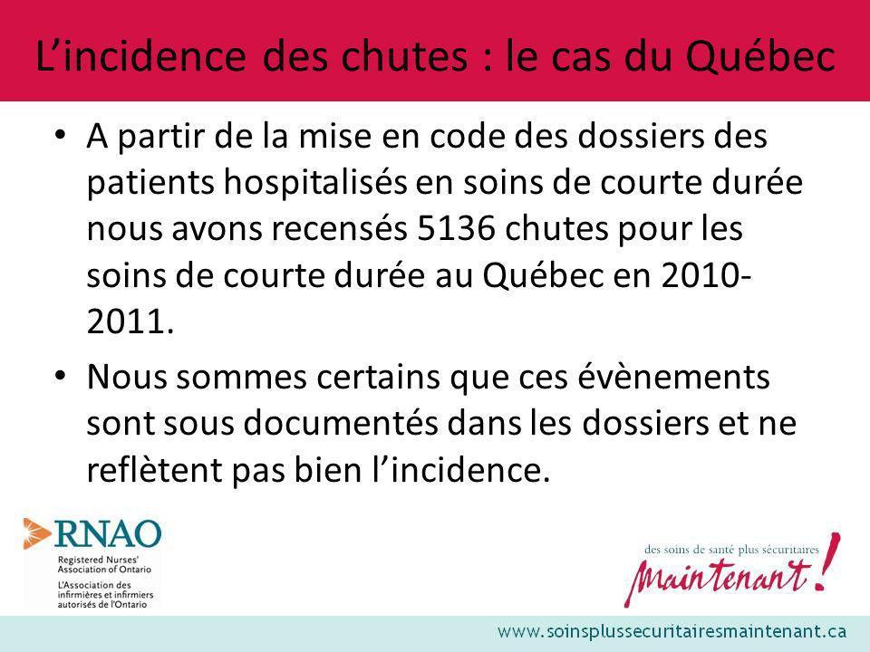 Lincidence des chutes : le cas du Québec A partir de la mise en code des dossiers des patients hospitalisés en soins de courte durée nous avons recens