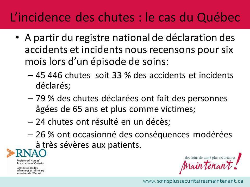 Lincidence des chutes : le cas du Québec A partir du registre national de déclaration des accidents et incidents nous recensons pour six mois lors dun