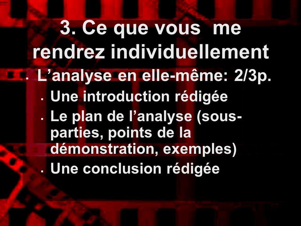 3. Ce que vous me rendrez individuellement Lanalyse en elle-même: 2/3p. Une introduction rédigée Le plan de lanalyse (sous- parties, points de la démo