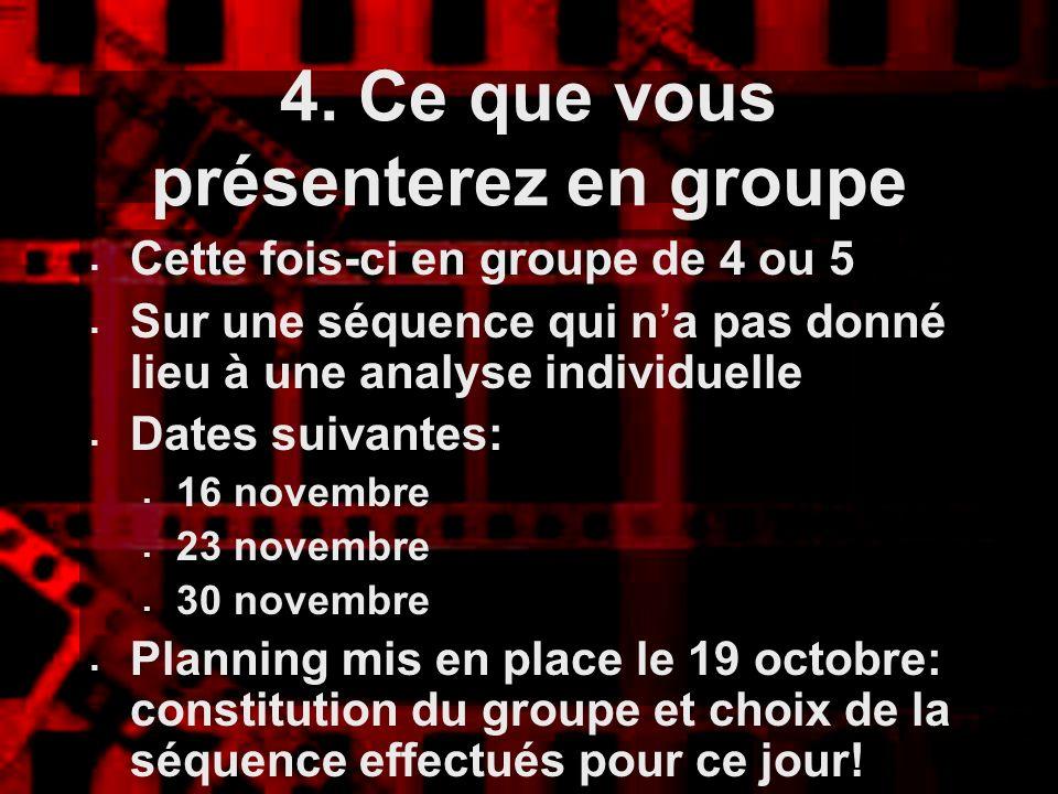4. Ce que vous présenterez en groupe Cette fois-ci en groupe de 4 ou 5 Sur une séquence qui na pas donné lieu à une analyse individuelle Dates suivant