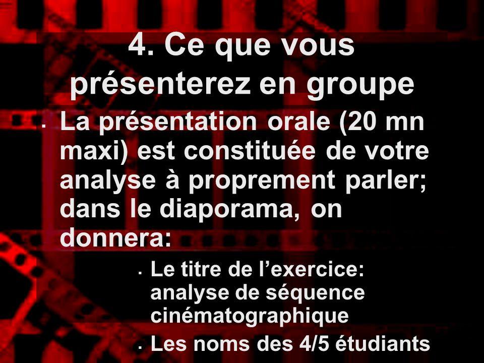 4. Ce que vous présenterez en groupe La présentation orale (20 mn maxi) est constituée de votre analyse à proprement parler; dans le diaporama, on don