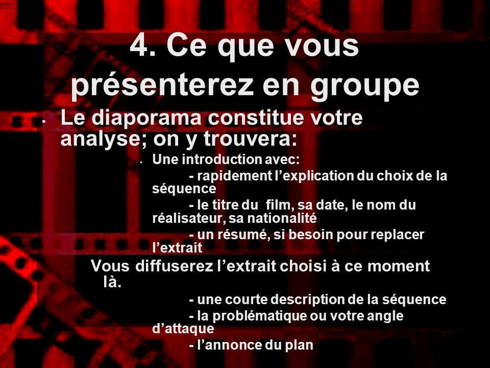 4. Ce que vous présenterez en groupe Le diaporama constitue votre analyse; on y trouvera: Une introduction avec: - rapidement lexplication du choix de
