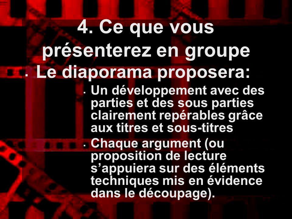 4. Ce que vous présenterez en groupe Le diaporama proposera: Un développement avec des parties et des sous parties clairement repérables grâce aux tit