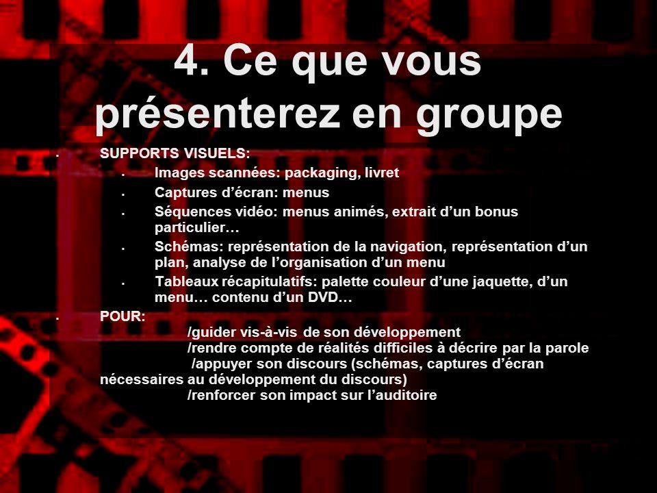 4. Ce que vous présenterez en groupe SUPPORTS VISUELS: Images scannées: packaging, livret Captures décran: menus Séquences vidéo: menus animés, extrai