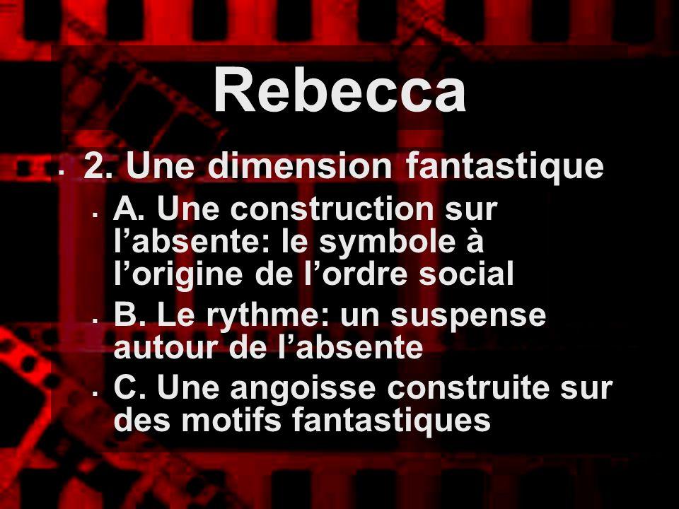 Rebecca 2. Une dimension fantastique A. Une construction sur labsente: le symbole à lorigine de lordre social B. Le rythme: un suspense autour de labs