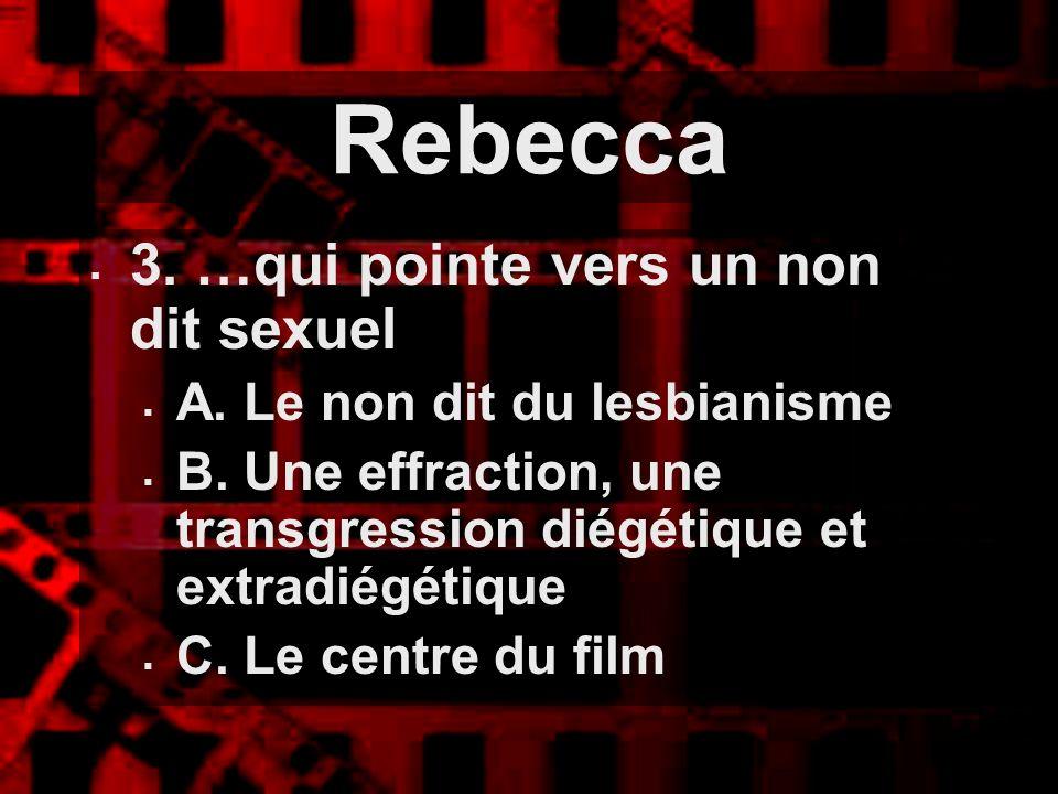 Rebecca 3. …qui pointe vers un non dit sexuel A. Le non dit du lesbianisme B. Une effraction, une transgression diégétique et extradiégétique C. Le ce