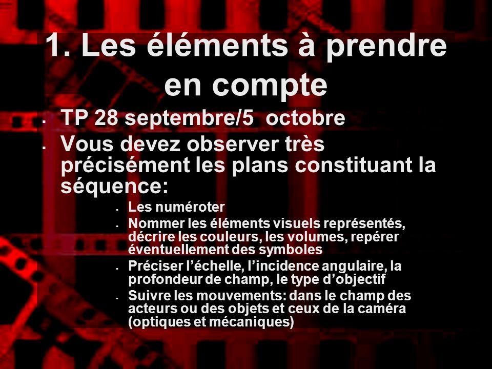 1. Les éléments à prendre en compte TP 28 septembre/5 octobre Vous devez observer très précisément les plans constituant la séquence: Les numéroter No