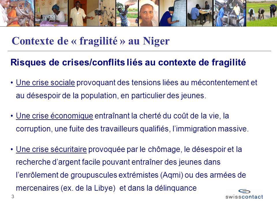 33 Contexte de « fragilité » au Niger Risques de crises/conflits liés au contexte de fragilité Une crise sociale provoquant des tensions liées au méco