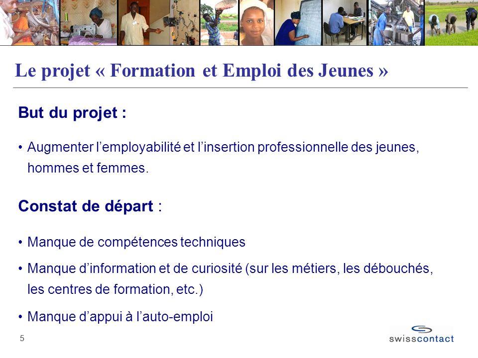 55 Le projet « Formation et Emploi des Jeunes » But du projet : Augmenter lemployabilité et linsertion professionnelle des jeunes, hommes et femmes. C
