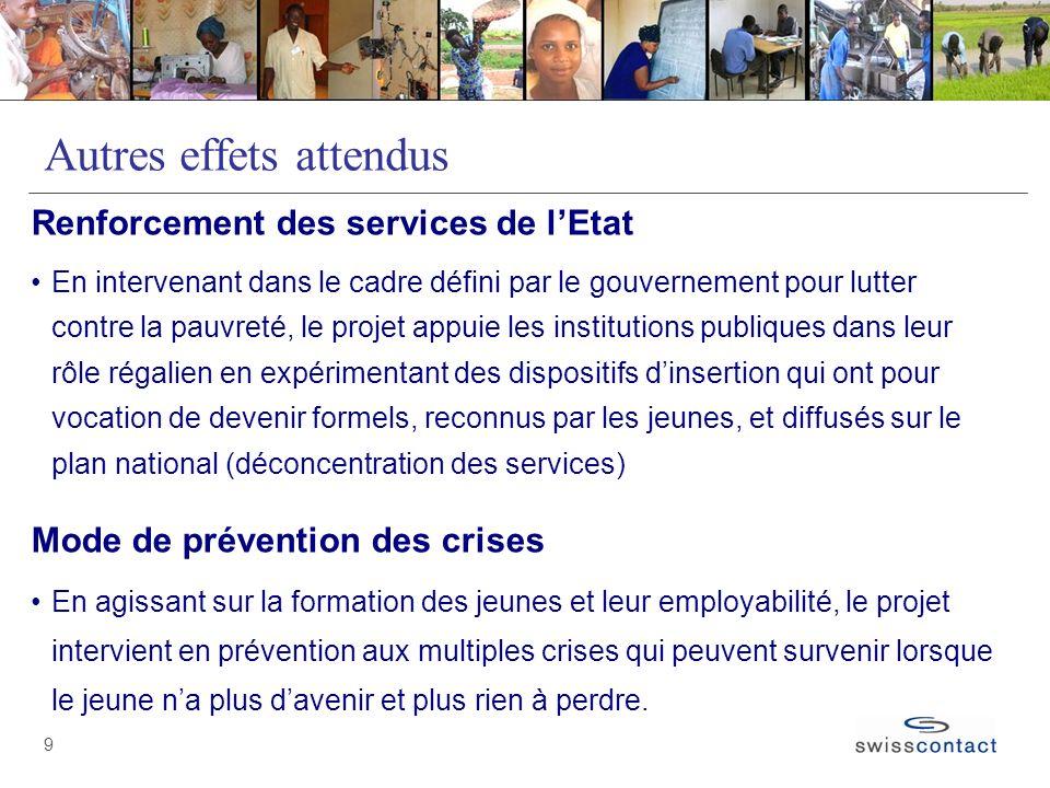9 Autres effets attendus Renforcement des services de lEtat En intervenant dans le cadre défini par le gouvernement pour lutter contre la pauvreté, le