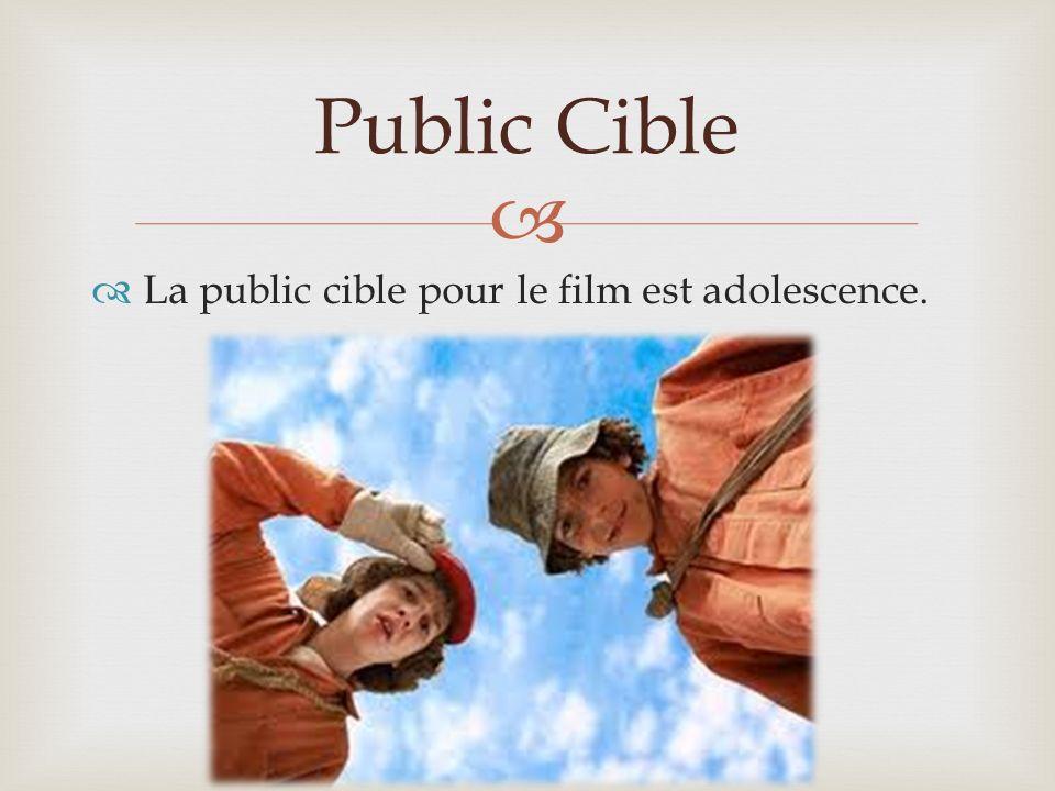 La public cible pour le film est adolescence. Public Cible