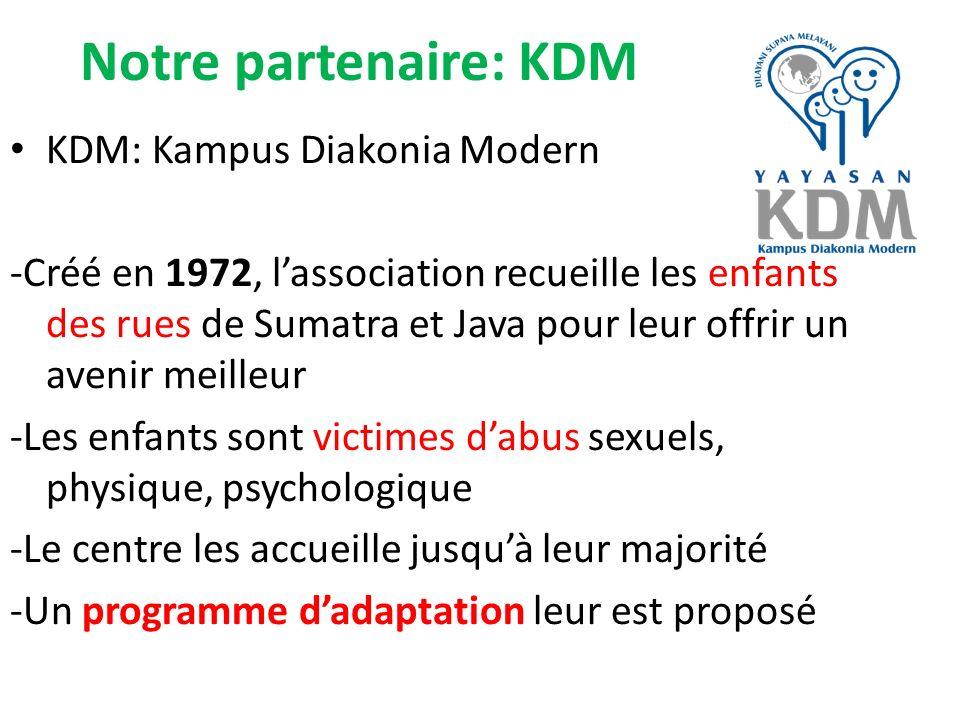 Notre partenaire: KDM KDM: Kampus Diakonia Modern -Créé en 1972, lassociation recueille les enfants des rues de Sumatra et Java pour leur offrir un av