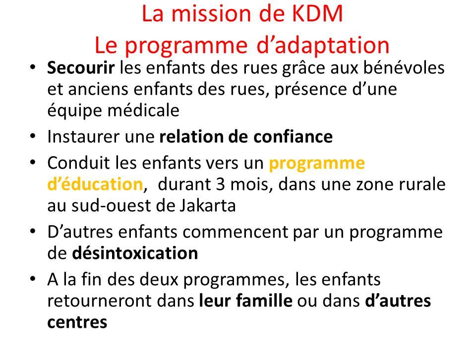 La mission de KDM Le programme dadaptation Secourir les enfants des rues grâce aux bénévoles et anciens enfants des rues, présence dune équipe médical