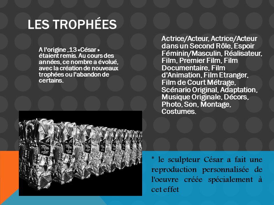 A l'origine,13 «César » étaient remis. Au cours des années, ce nombre a évolué, avec la création de nouveaux trophées ou l'abandon de certains. Actric