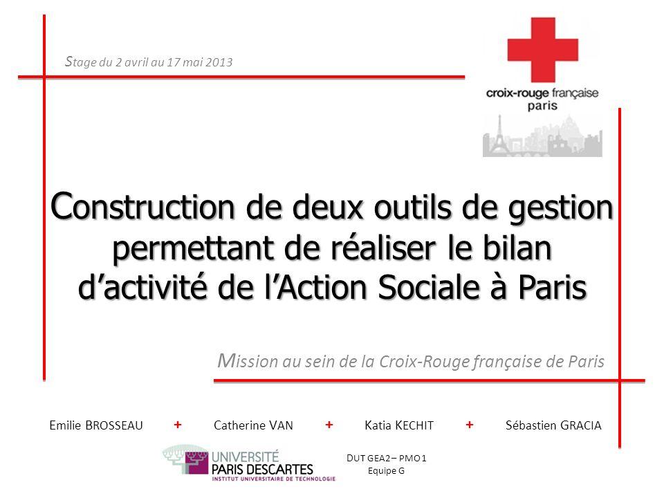 C onstruction de deux outils de gestion permettant de réaliser le bilan dactivité de lAction Sociale à Paris M ission au sein de la Croix-Rouge frança